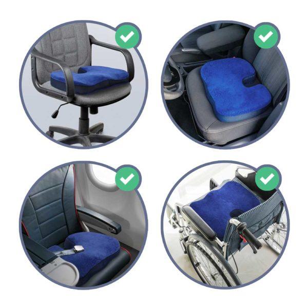 casimum® orthopädisches Sitzkissen ist ideal für den Bürostuhl, den Autositz, Flugzeugsitz und Rollstuhl.