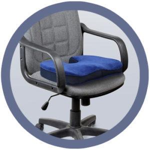 Diese Grafik veranschaulicht das ergonomische Bürostuhl Sitzkissen von casimum®