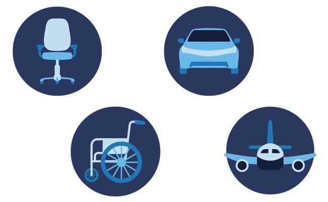 Diese Icons veranschaulichen die verschiedenen Einsatzgebiete von casimum® Sitzkissen wie z.B. Bürostuhl, Auto, Rollstuhl und Flugzeug